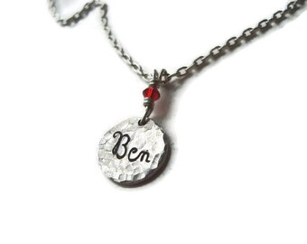 SILVER  Charm Tag Engraved, Personalized with Name of Your Choice both Sides, Birthstone, sweet 16, mom daughter necklace, baby gift