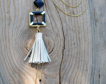 Long leather, onyx and brass pearl white tassel necklace with Swarovski crystal bead accents - black and white - gold - geometric boho chic