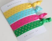 Set of 4 hair ties - elastics - no crease - stretch bracelets - gold dots - yellow - pink - blue - green - party favor - favor gift - summer