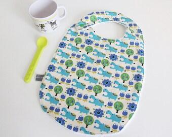 Baby bib - hippo - hippopotamus - blue - green - white - trees - bamboo - baby gift - baby shower - baby meal - baby - birthday