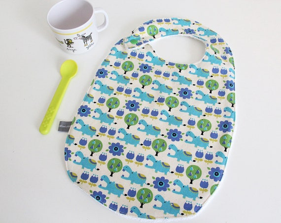 Baby bib - hippo - hippopotamus - blue - green - white - trees - bamboo - baby gift - baby shower - baby meal - baby - birthday