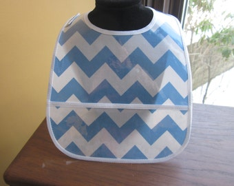 WATERPROOF WIPEABLE Baby to Toddler Wipeable Plastic Coated Bib Blue and White Chevron