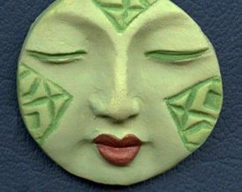 Polymer  Faux Jade  Round Textured   Spirit Doll Face Cab BDJD 2