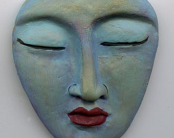 """Polymer Large Blue,Green and gold Buddha Face Cab 2 1/8"""" x 2"""""""