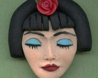 "Polymer Clay  detailed 2 ""x 2""   Asian  Geisha  Face Cab Un Drilled NFLGS 2"
