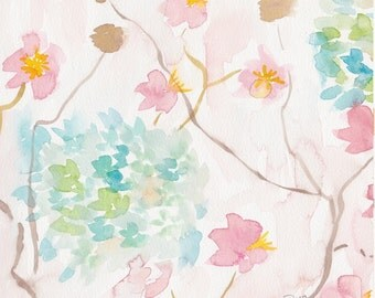 Soft Blooms I Original Watercolor