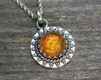 Silver and Amber Necklace - Small Filigree Amber Pendant