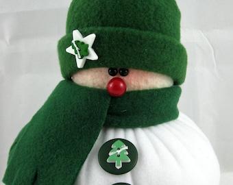 Handmade Stuffed Snowman Decoration, Christmas Holiday Decor, Snowman Christmas Ornament, Winter Decor, Little Bit in Green Fleece