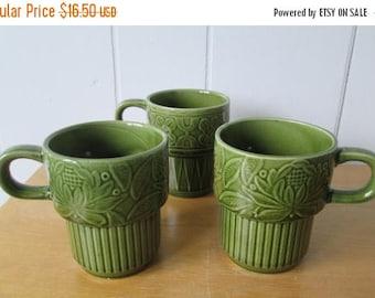 NEW ROOF SALE vintage green stackable mugs Japan