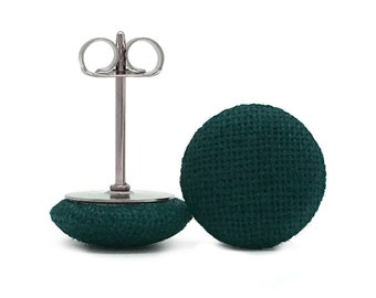6 Shapes + Sizes! Surgical Steel Fabric Covered Button Stud Earrings - Dark Forrest Green Solid Colour - Round + Square