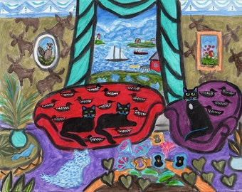 ORIGINAL PAINTING, Black Kitties with Westie Dog and Rare Loon Couch, Moose Wallpaper, by Peggys Cove, by DM Laughlin