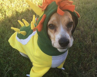 Bowser from Super Mario Pet Dog costumes sizes XS to XL