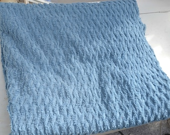 Blue Chenille Fabric, Soft Plush Diamond Pattern Chenille, Vintage Cotton Chenille, 35 by 70 inch Fabric Piece, Vintage Fabric, 1960s Fabric