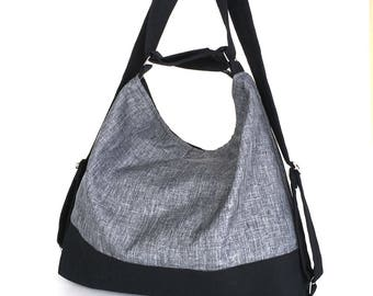 Convertible bag ,Grey hobo bag, Backpack purse Casual day bag,Vegan hobo purse Grey shoulder bag Linen purse, Office bag Convertible purse