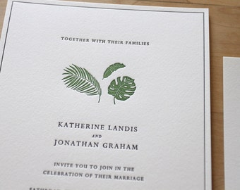 Letterpress Wedding Invitation - tropical leaves - simple plants, Letterpress Wedding Invitation