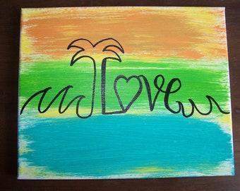 Palm Tree Love 8x10 Canvas Painting