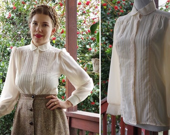 IVORY 1970's Vintage Sheer Cream White Pleated Blouse w/ Long Sleeves + Lace // by DIVISION II // size 36 Small Med