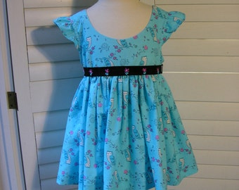Cute Girls Owl and Flowers Pullover Dress With Embroidered Belt, Size Small