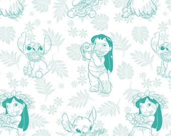 Hula Toile in Turquoise Lilo and Stitch Disney Woven Cotton Fabric BTY