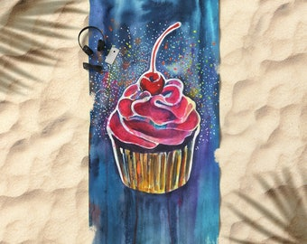 "Cupcake beach towel cupcake towel hot pink cupcake bath towel swim towel kids towel girls towel beach towel pink cupcake towel 74 x 37"""
