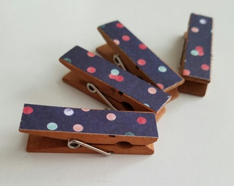Magnets - Set of 4 - Party Polka Dots Confetti Clothespin Clips - Roomate Gift - Ready To Ship