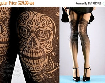 SALE//17%off// Tattoo Tights, Day of the Dead garters print Nude Color thigh highs illusion one size full length closed toe printed tights p
