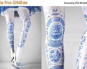 ON SALE/// Tattoo Tights -  China Doll one size blue and white full length printed tights, pantyhose, nylons by tattoosocks