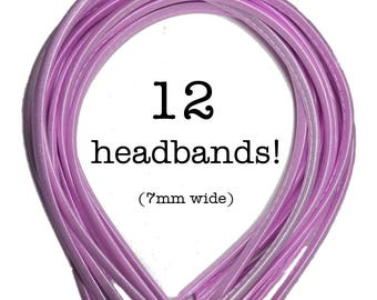 12 Lavender satin headbands - skinny satin headbands in BULK