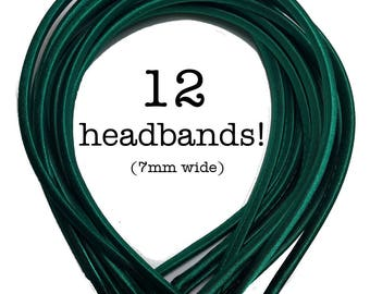12 Hunter Green satin headbands - skinny satin headbands in BULK