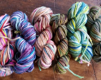 SURPRISE Mini SKeins!! You will receive SIIX Mini Skeins ofHand Painted, Super Wash, Sock Yarn Minis. Dyed By Me.
