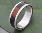 Tres Cuadros Wood Ring - ecofriendly wedding ring recycled sterling silver, mens wood wedding ring, wood band