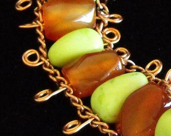 Apple Green Magnesite, Red Agate Beads, Free Domestic Shipping, Ladder Bracelet, Chain Linked, Chain Bracelet, Lobster Clasp, 8 inch, Women