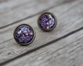 ON SALE Purple Lilac Earrings, Real Flower Jewelry, Flower Jewelry, Earrings, Real Flower Post Stud Jewellery, Resin Flower Earrings