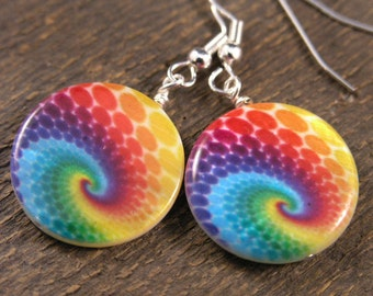Psychedelic hippie, green, blue, yellow, purple, red, orange on large genuine shell beads handmade earrings