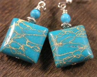 Turquoise imperial jasper stones and silver handmade southwestern style earrings