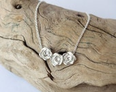 ON SALE Rose Bud Necklace - Sterling Silver