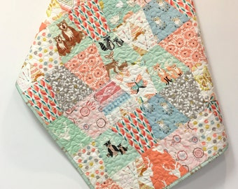 Girly Woodland Baby Quilt Scrappy Tumbler Patchwork  Hello Bear Deer Nursery Crib Bedding  Mint Peach Forest Animals