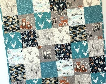 Baby Boy Quilt Buck Forest Woodland Nursery Crib Bedding Patchwork  Hello Deer Bear Forest Animals Teepee Teal Navy Gray