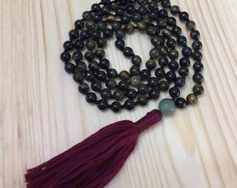 Knotted Mala, Tigereye Mala, Mala Necklace, Tassel Necklace, Meditation, Yoga, Yoga Beads