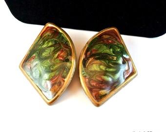 Fan Style Enamel Earrings, Vintage Green Gold Enamel Stud Earrings, 1970 Stud Earrings, Red Green Gold Enamel Earrings, Christmas Gift