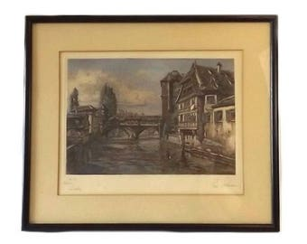 Color Etching Landscape Art, Vintage Signed Paul Sollmann Framed Art, Engraving No 27, Nuremberg Germany