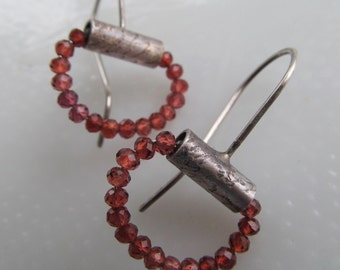 GARNET Hoop Earrings Silver Dangling Earrings Wine Red Gemstone Hoops Rustic Dangle Earrings Rustic Silver Jewelry Small Hoop Earring Silver