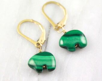 Tiny Malachite Spirit Bear Gold Earrings