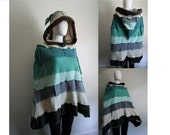 Cookie Cocoon: Upcycled Cashmere Merino Lambswool Poncho with Hood, OSFM