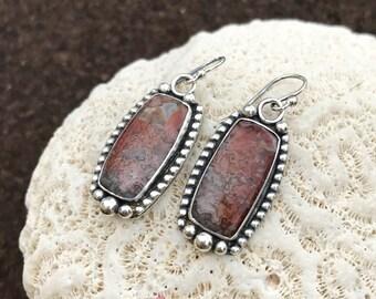 Red Crazy Lace Agate Stone Earrings, Sterling Silver Dangle Earrings, Artisan Metalwork Bezel Set Boho Chic Silversmith Drop Earrings