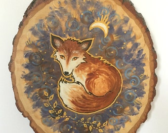 Fox and Moon - Original Wood Burned Art - Seated Fox with Moon Rays and Yellow Vines - Fox Painting on Wood- Unique Animal Art