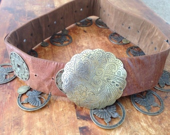 Vintage Wide Belt Boho LEATHER Brass Metal Butterfly Coin Concho Medallions