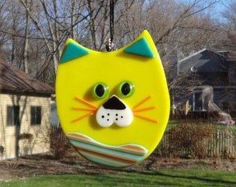 Fused Glass Cat Suncatcher, Yellow and Blue Southwest Fused Glass Cat, Cubby Cat Suncatcher, Kitten Suncatcher, Cat Suncatcher