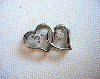 Pretty Sterling Silver and CZ Double Heart Pendant