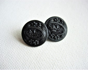 Lovely Antique/Vintage Victorian Black Glass Buttons